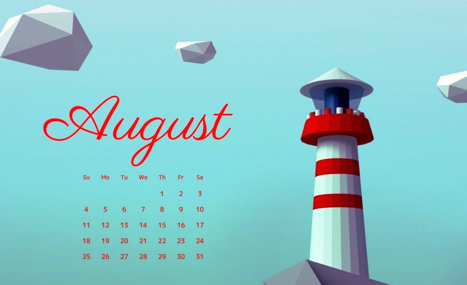 2019 August Calendar Wallpaper