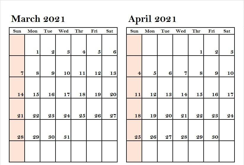2021 March April Calendar PDF