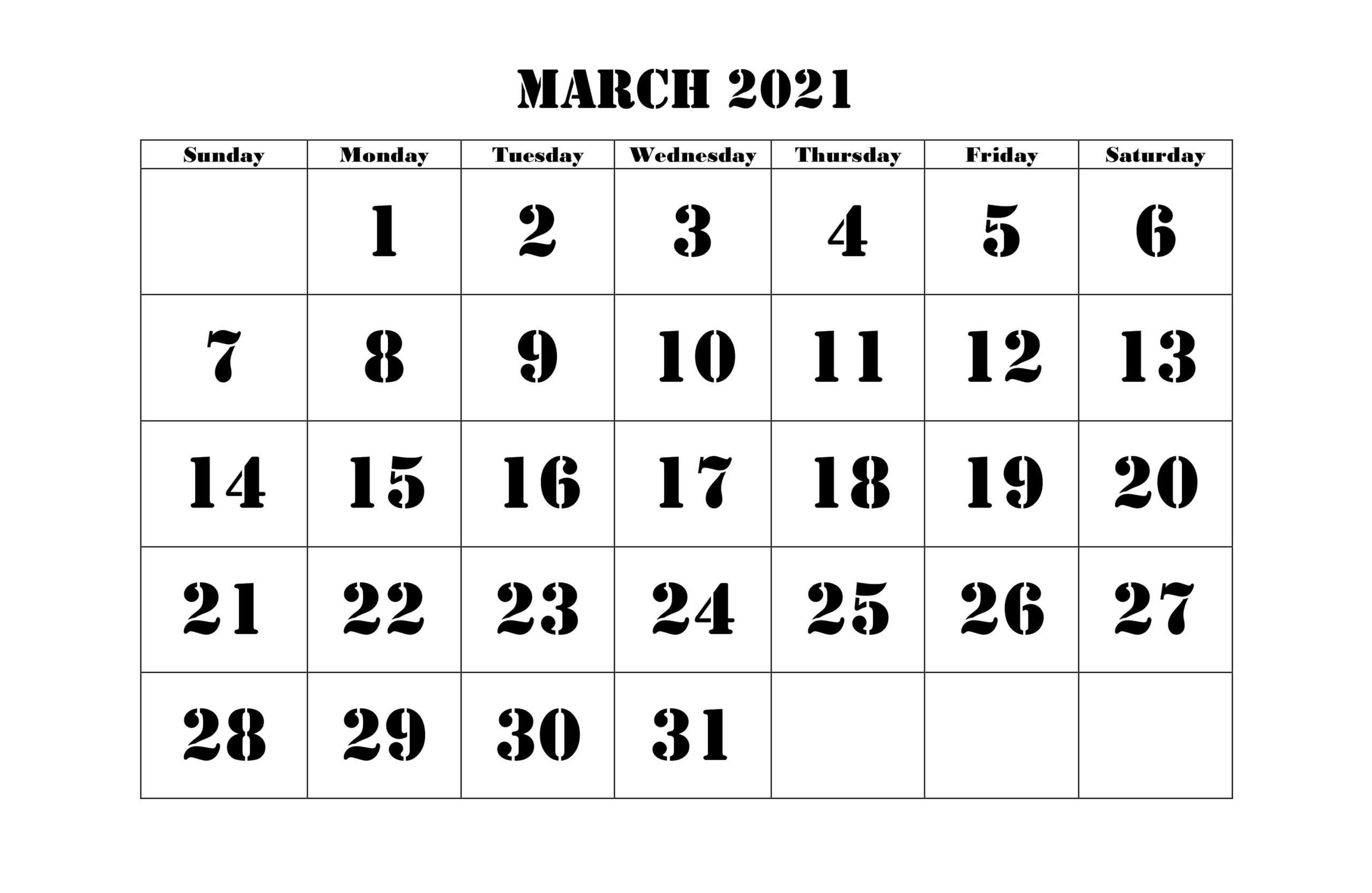 2021 March Calendar Printable