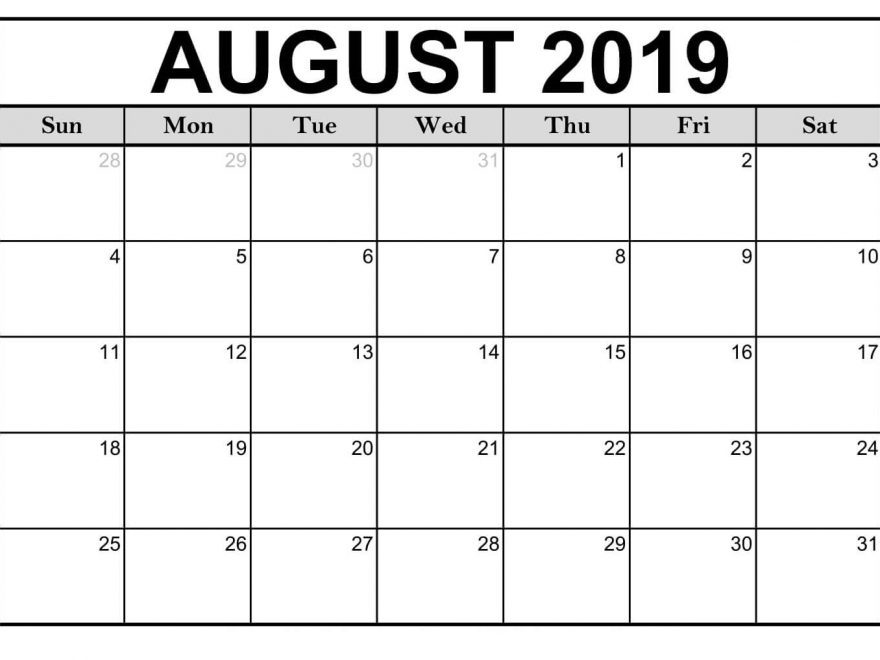 August 2019 Calendar Printable Template