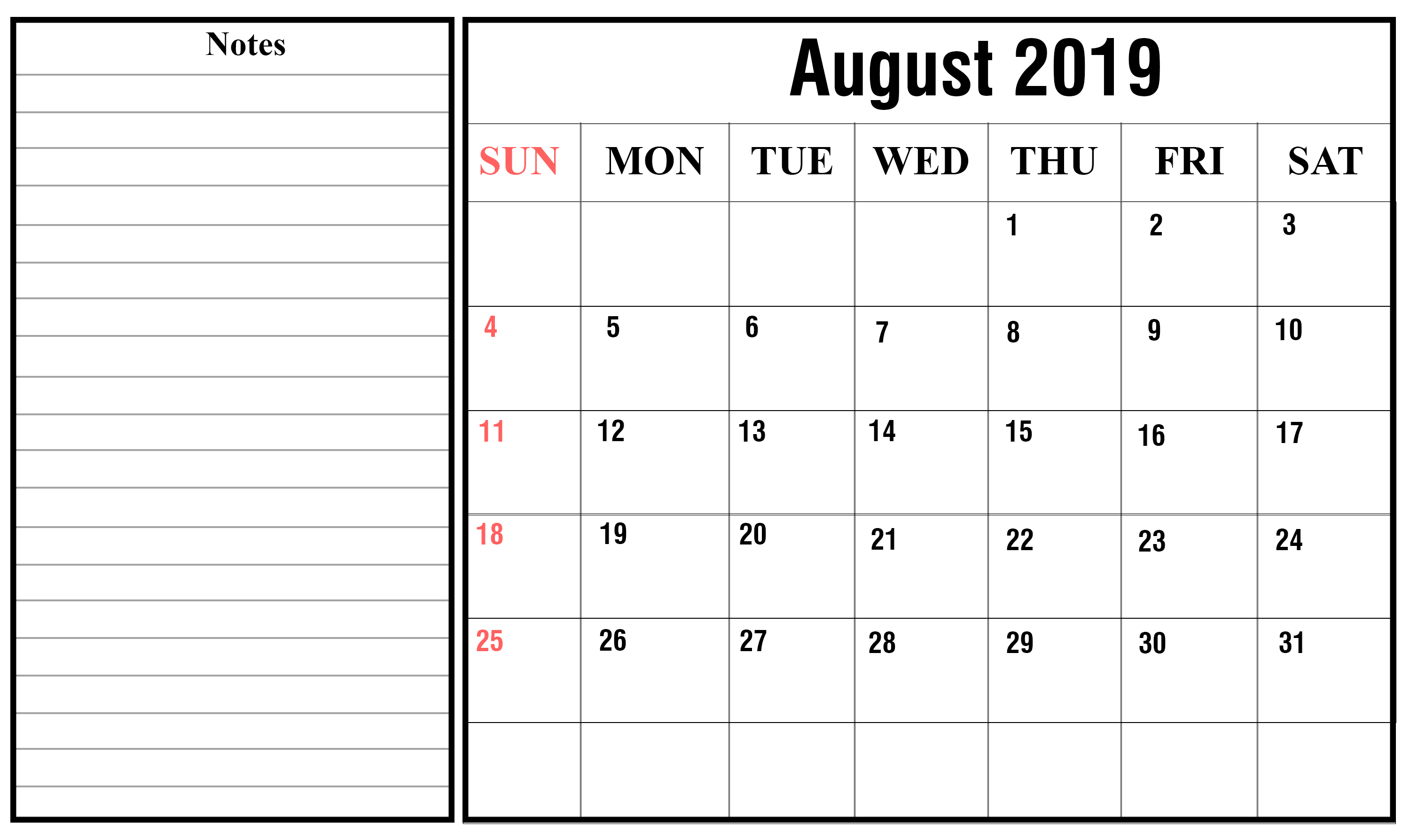 August Calendar 2019 Editable To Do List