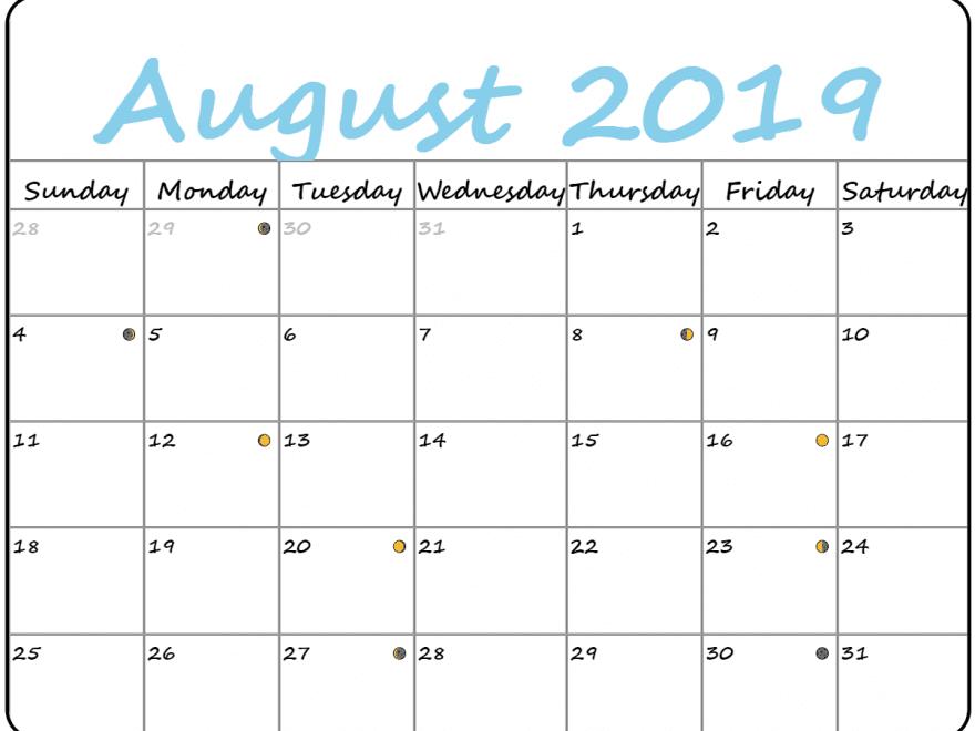 August Calendar 2019 PDF Word