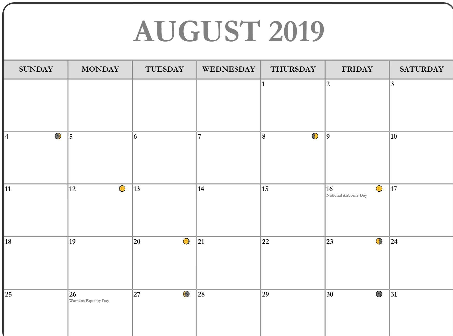 August Moon Phases Template