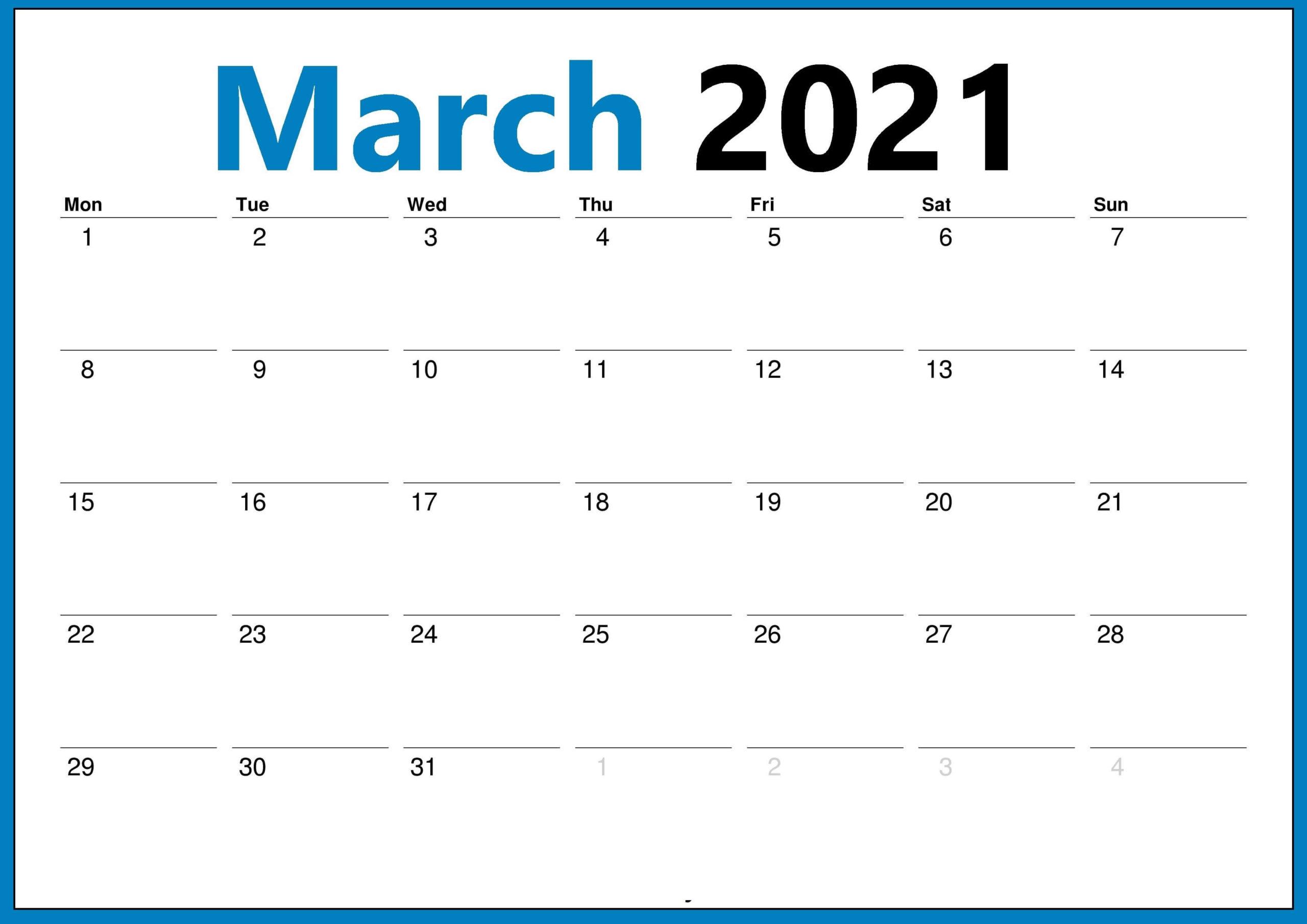 Blank 2021 March Calendar Editable