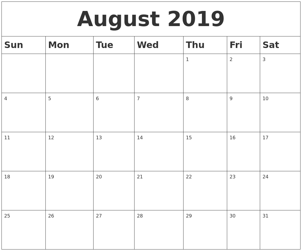 Blank August Calendar 2019 Printable