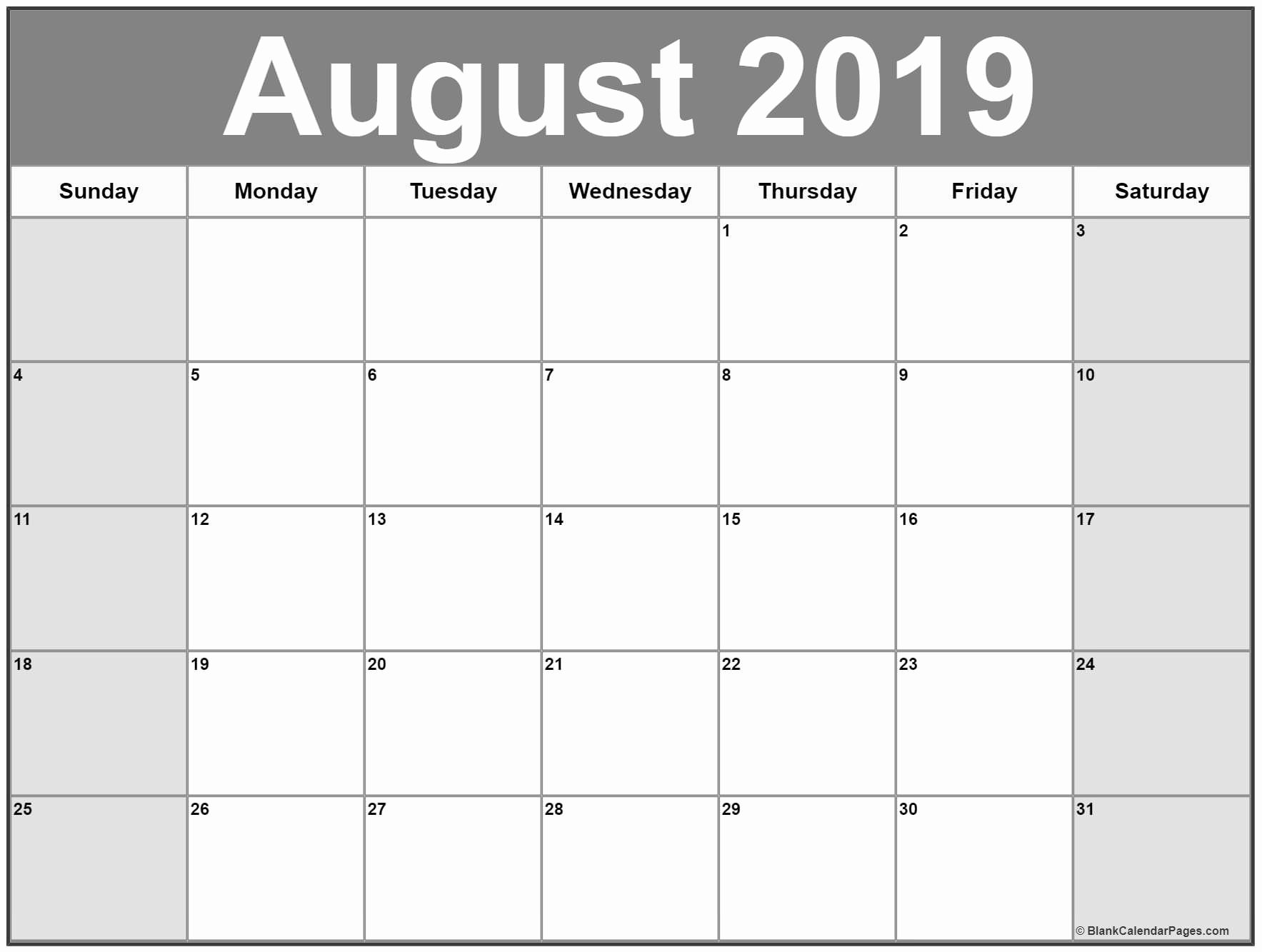 Blank August Calendar 2019 Template