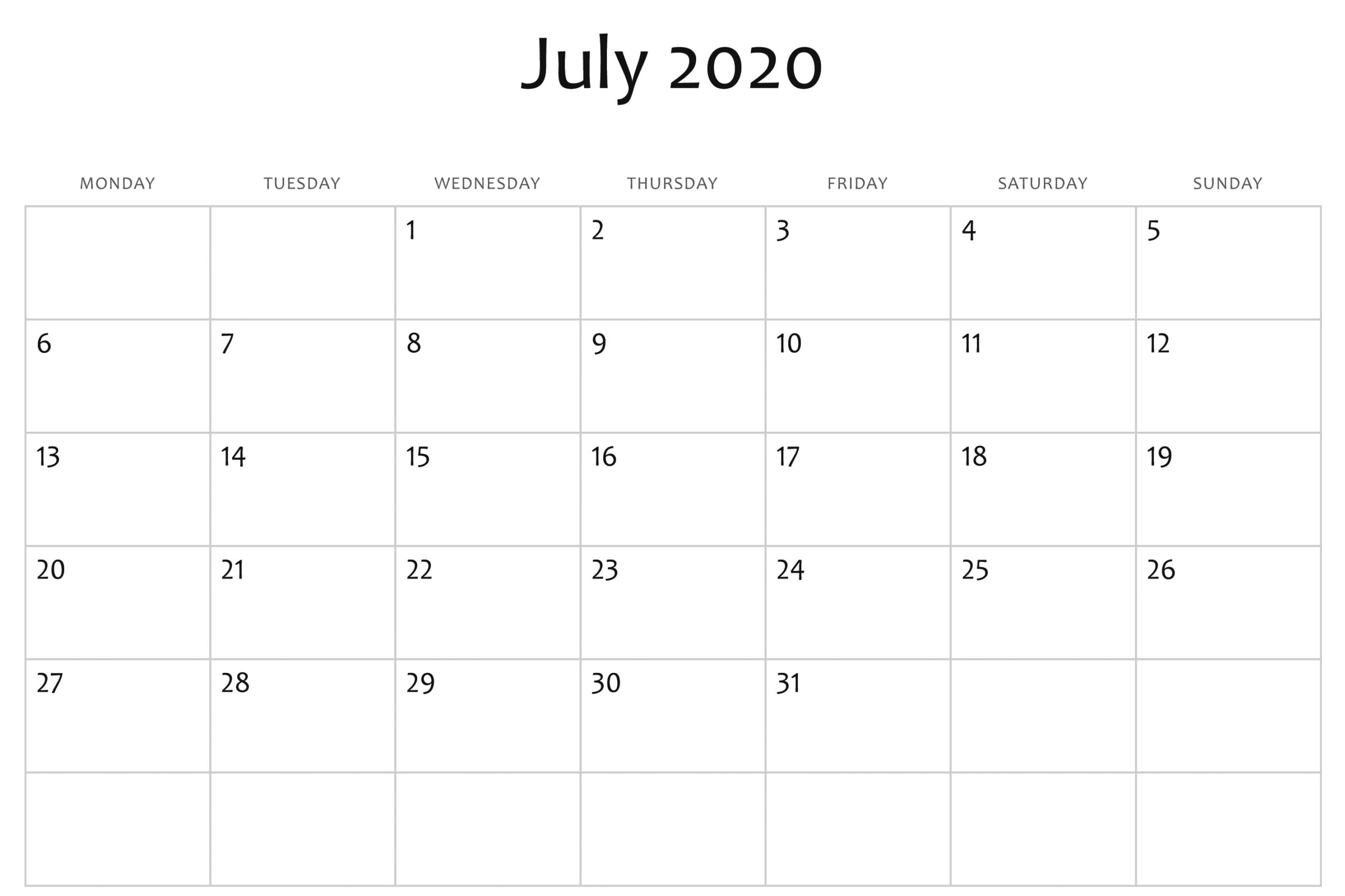 Blank July 2020 Calendar Word