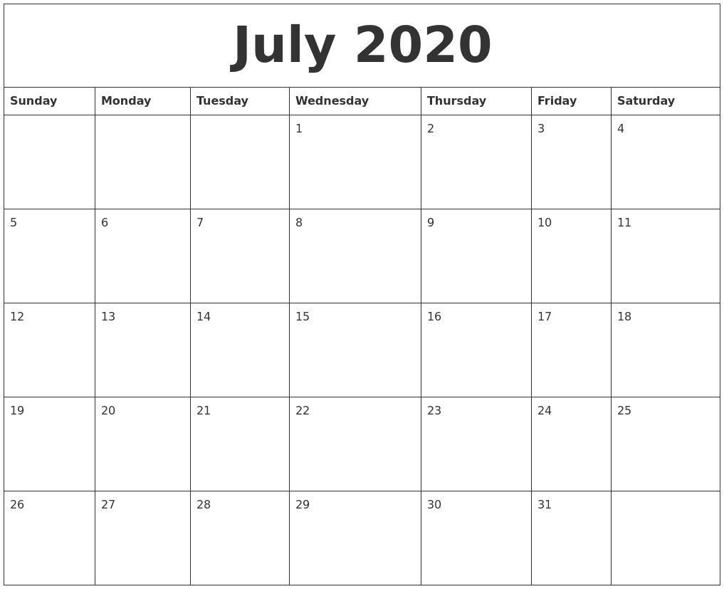 Blank July 2020 Calendar with Holidays