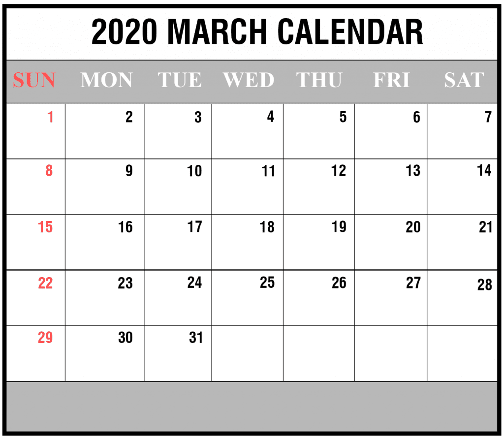 Editable Calendar January 2020 Template: Free 2020 March Calendar Printable Editable Template Blank