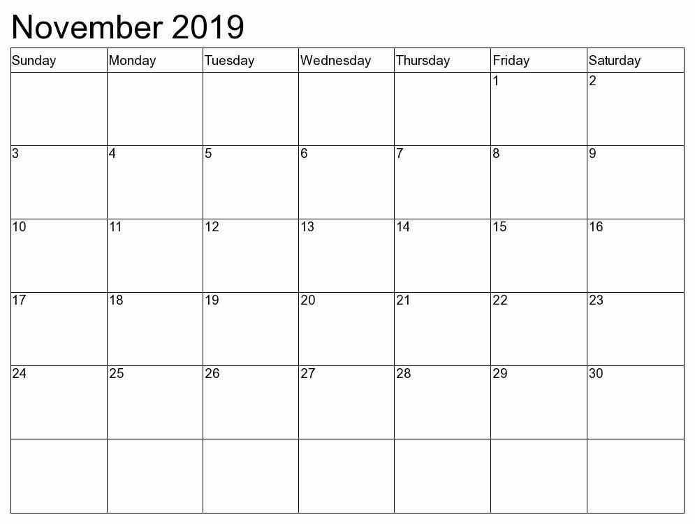 Blank November 2019 Calendar To Print
