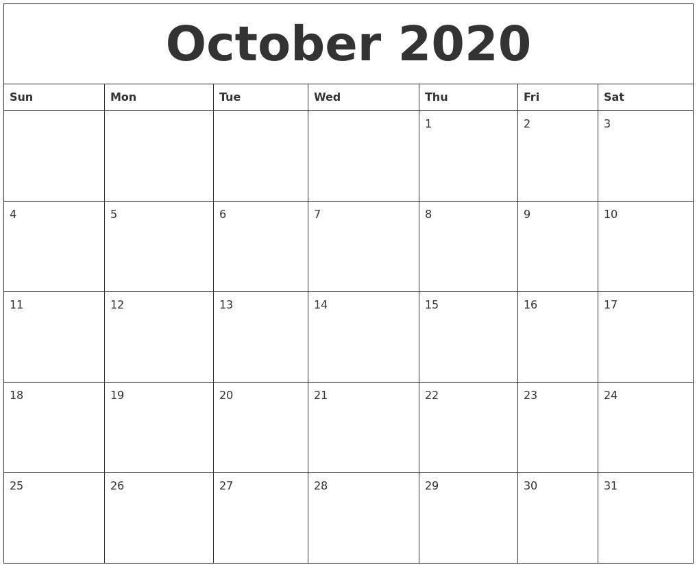 Blank October 2020 Calendar Printable