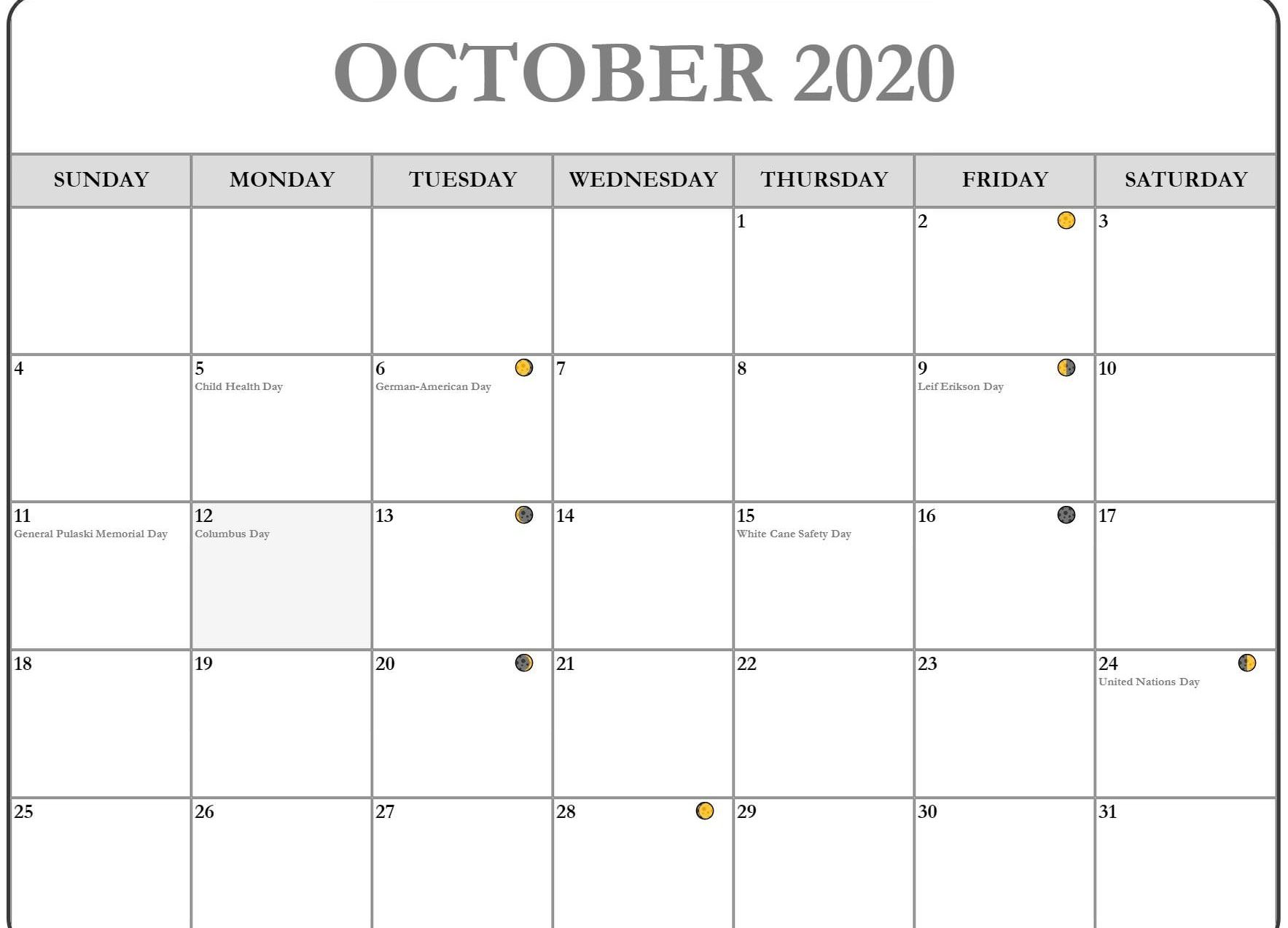 Blank October 2020 Calendar with Holidays