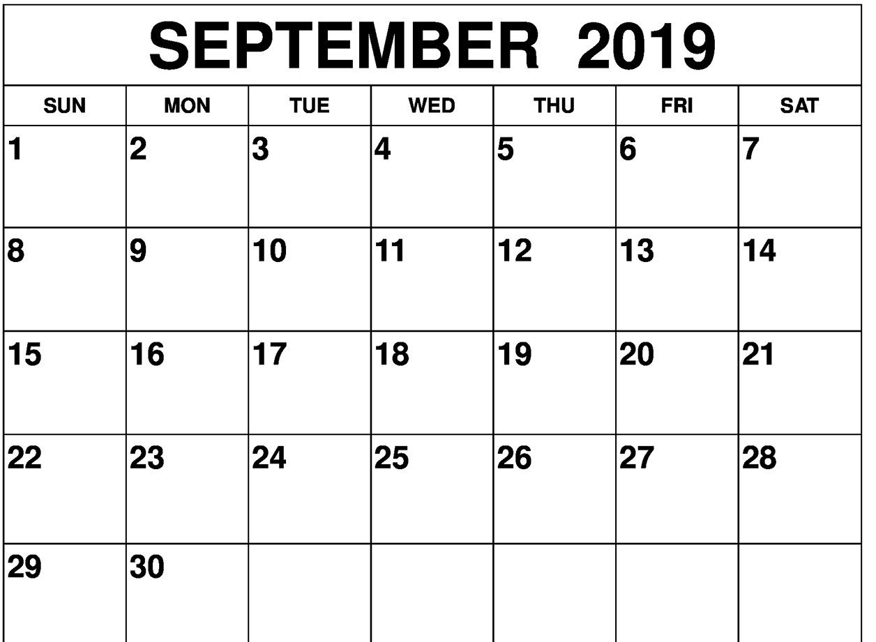 Blank September Calendar 2019 Printable Template 1