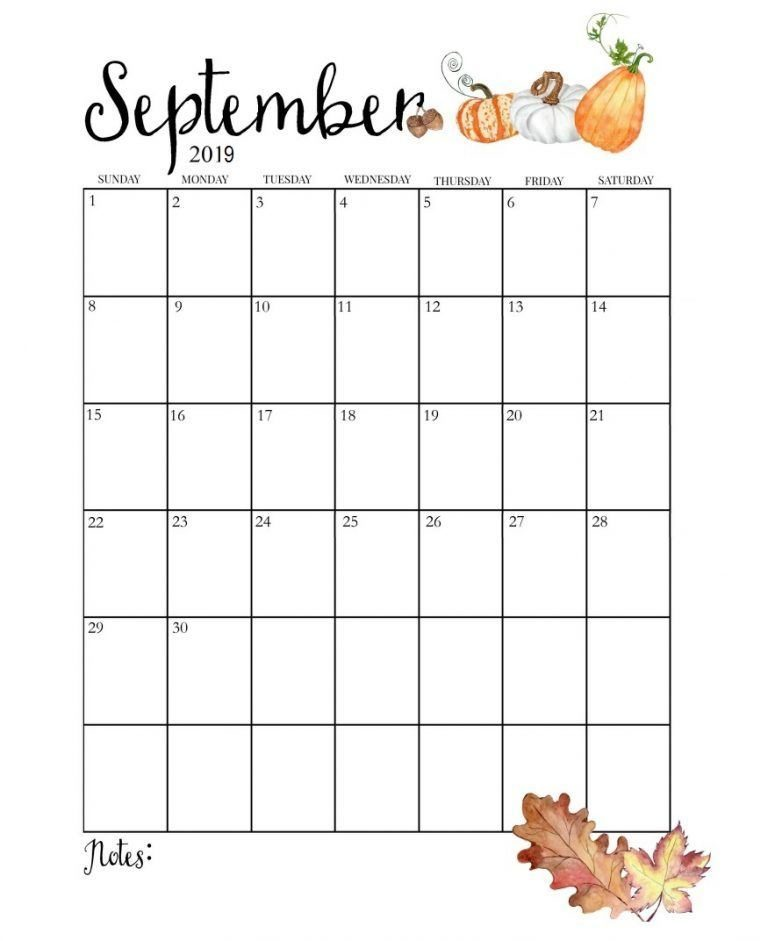 Cute September 2019 Calendar Blank Template