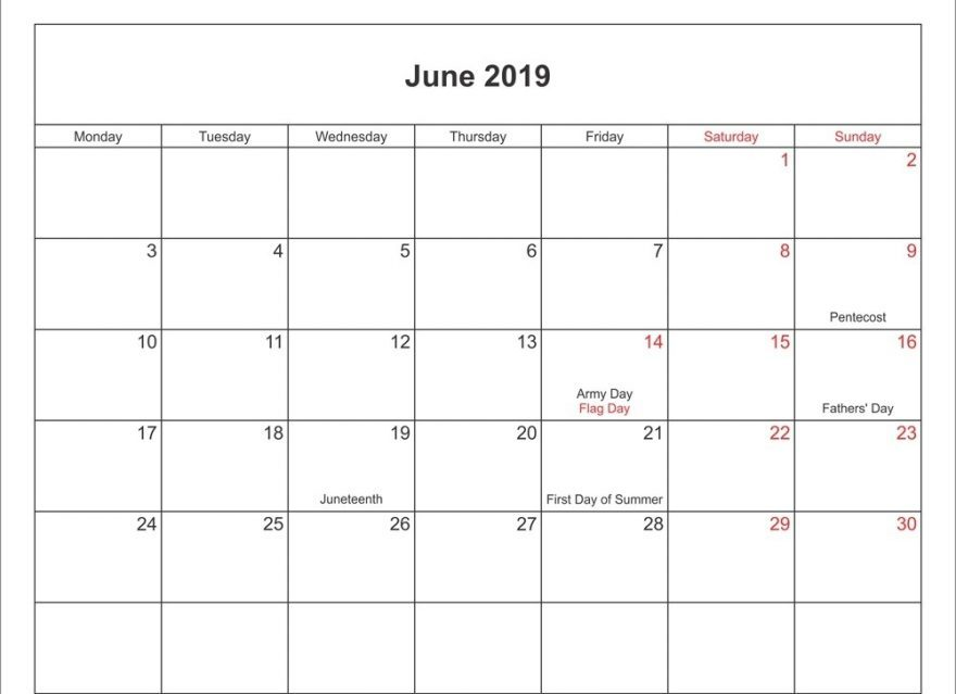 Calendar July 2019 Printable