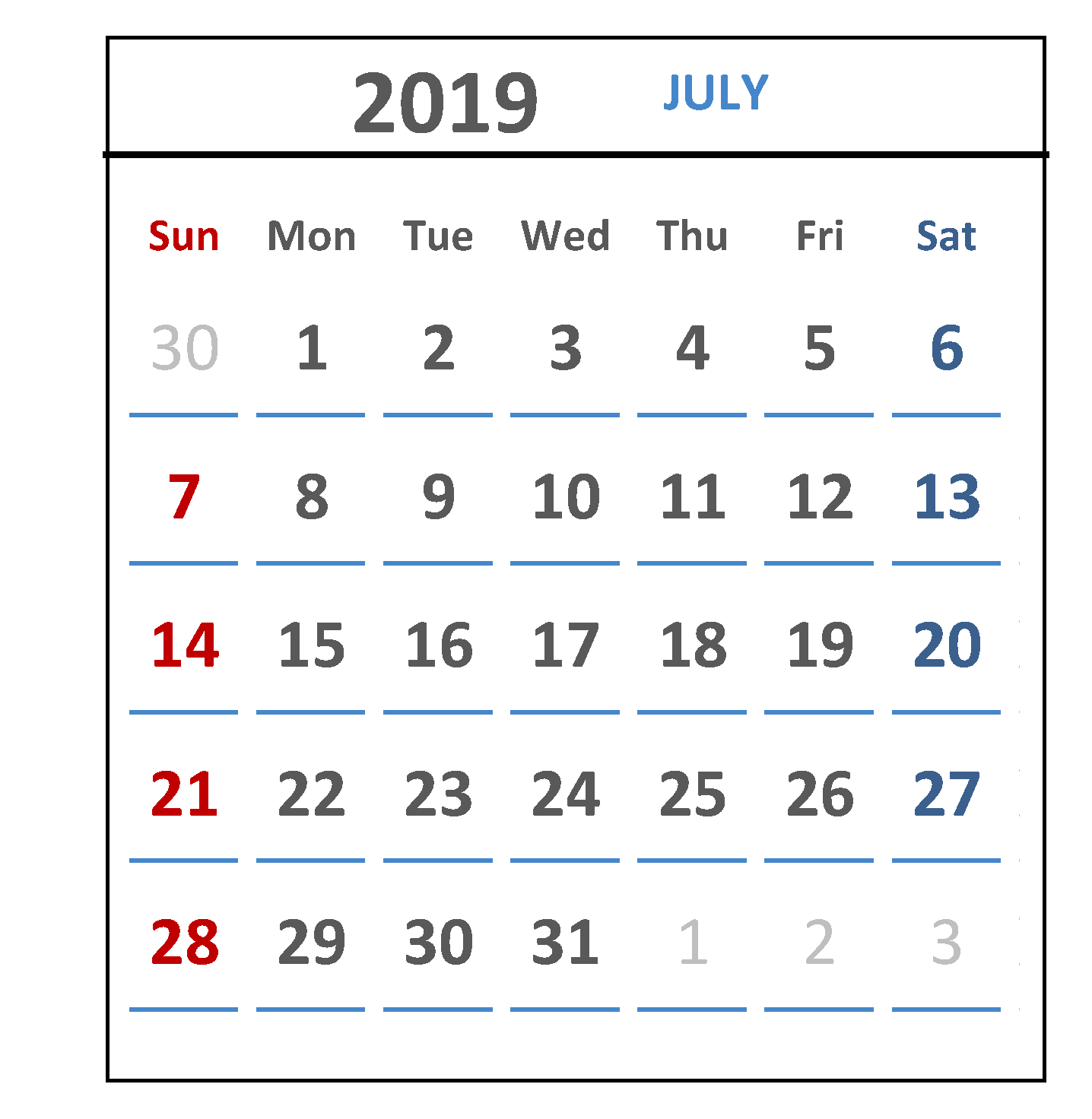 Calendar For July 2019 Printable