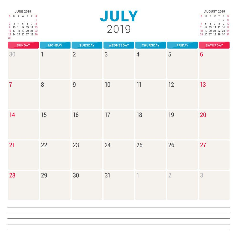 Calendar planner for July 2019 Sunday To Monday