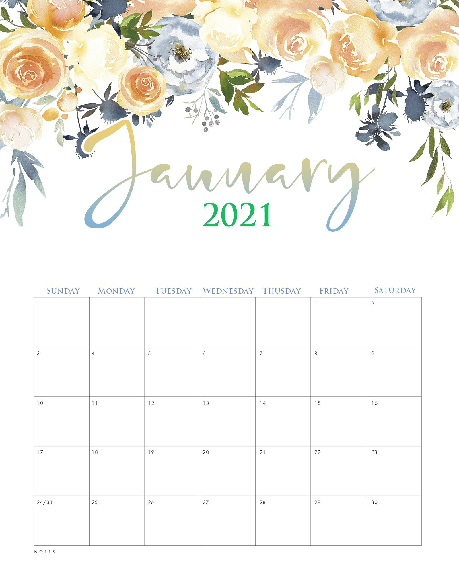 Cute January 2021 Desk Calendar