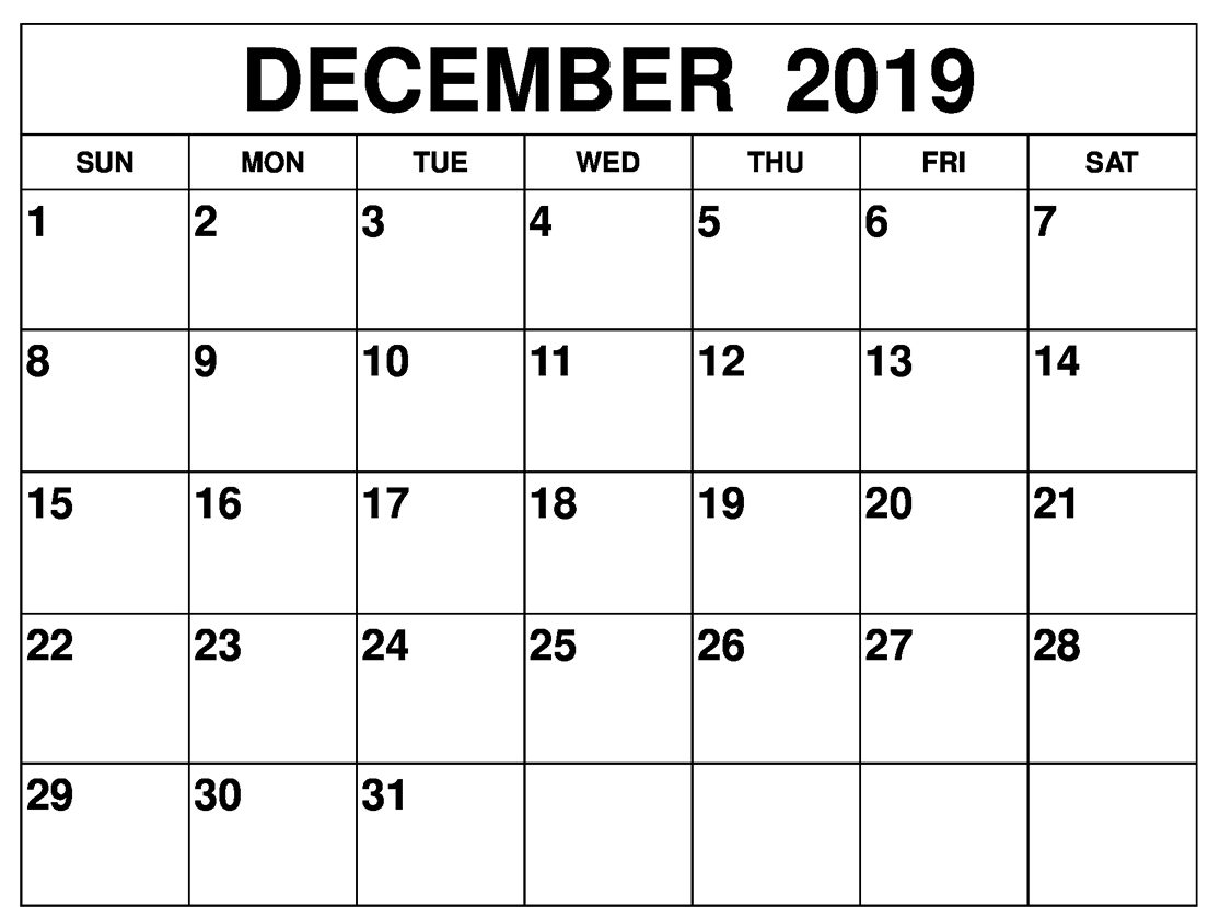 image regarding Printable Calendar Dec named Totally free Regular monthly Blank December Calendar 2019 Printable Template