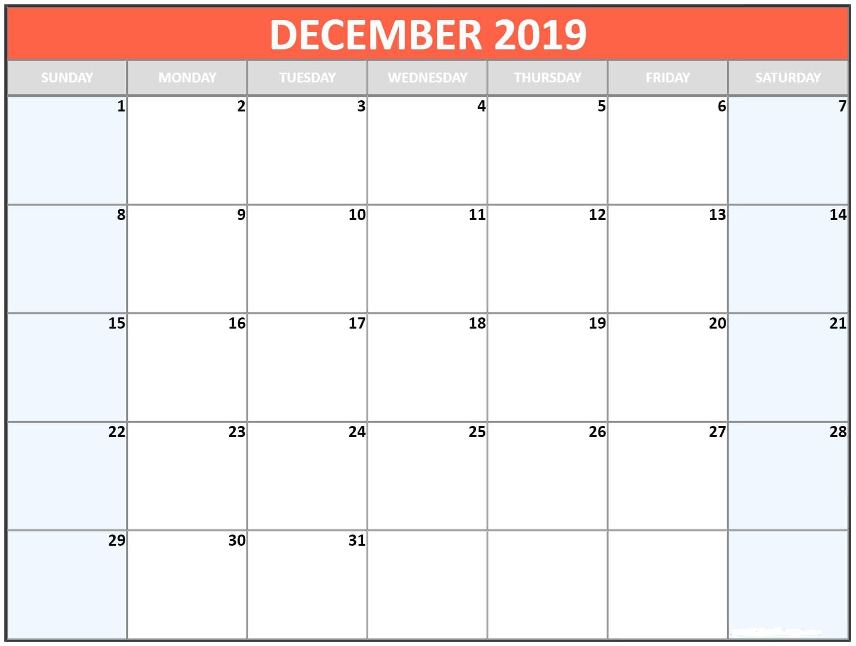 December 2019 Printable Calendar
