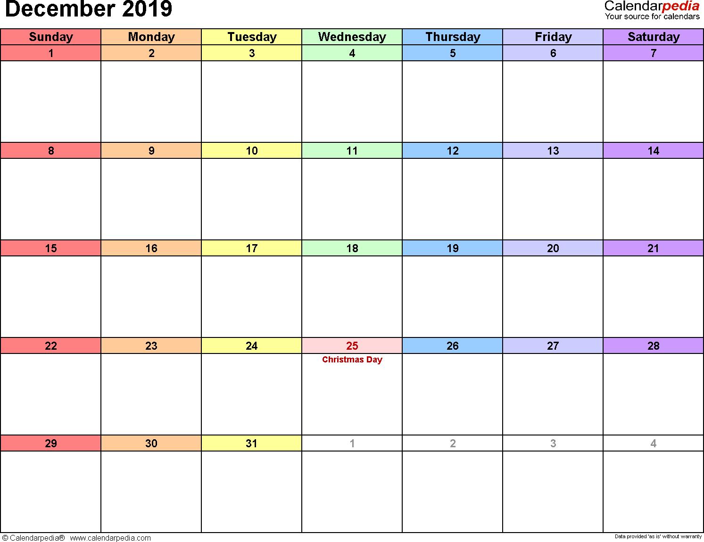 December 2019 calendar printable template