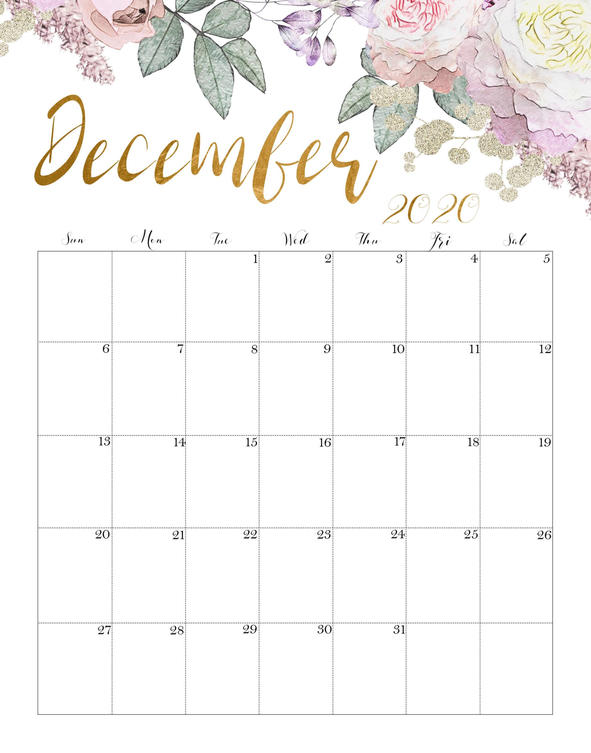 December 2020 Office Desk Calendar