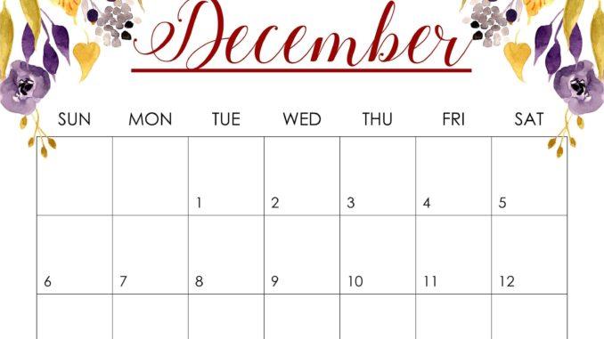 December 2020 Wall Calendar