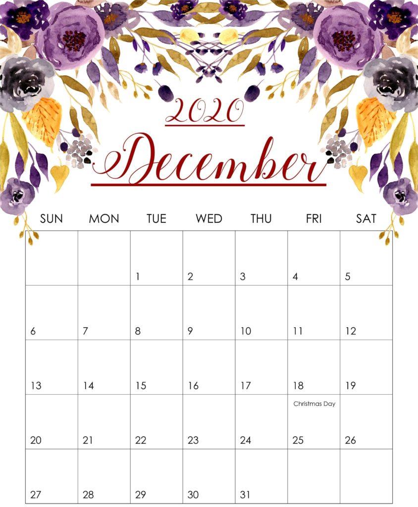 Free Monthly Blank December Calendar 2020 Printable Template