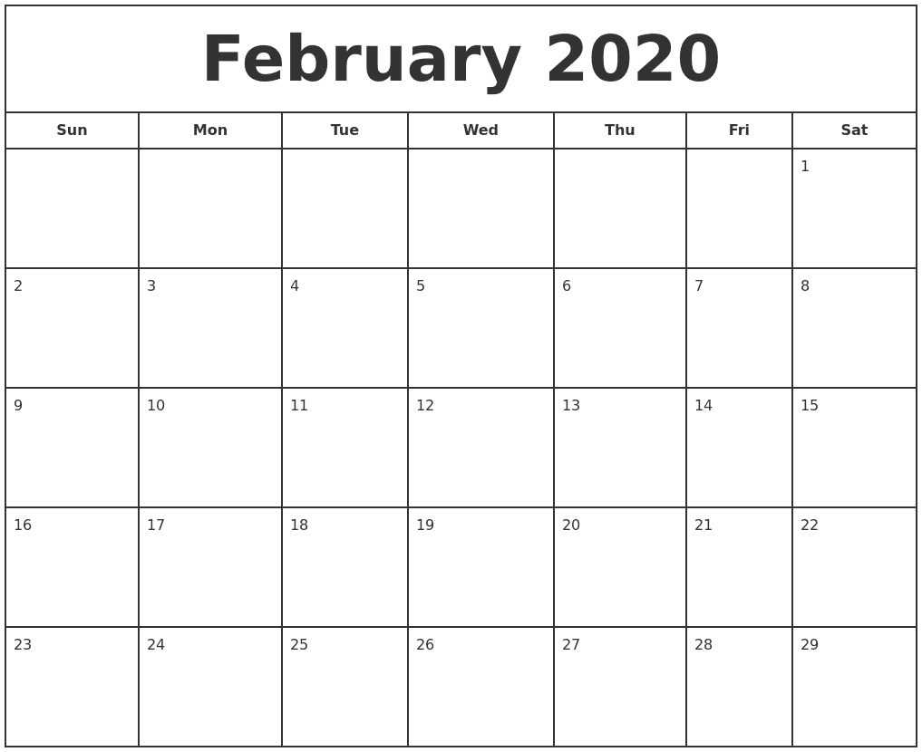 February 2020 Calendar Monthly Template