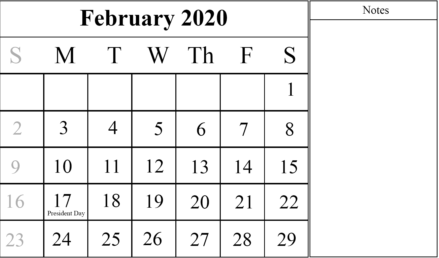 February 2020 Printable Calendar Cute.February Calendar 2020 Free Printable Template Pdf Word Excel