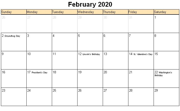 February 2020 Printable Calendar Holidays