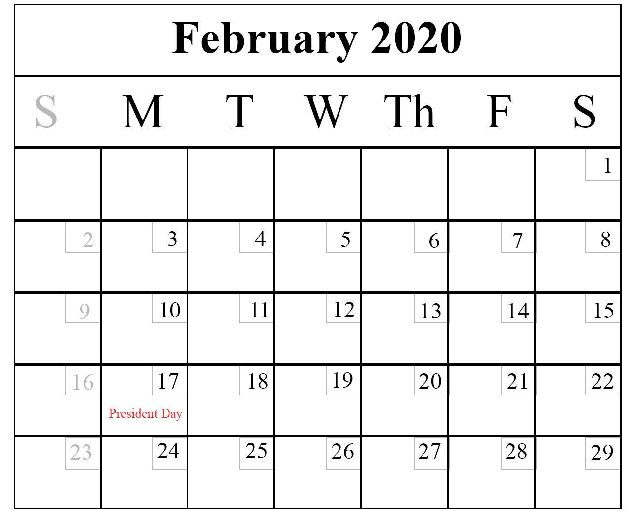 February Calendar 2020 Printable