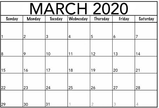 Fillable March 2020 Calendar Excel