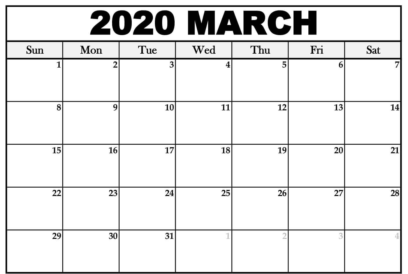 Fillable March 2020 Calendar Word