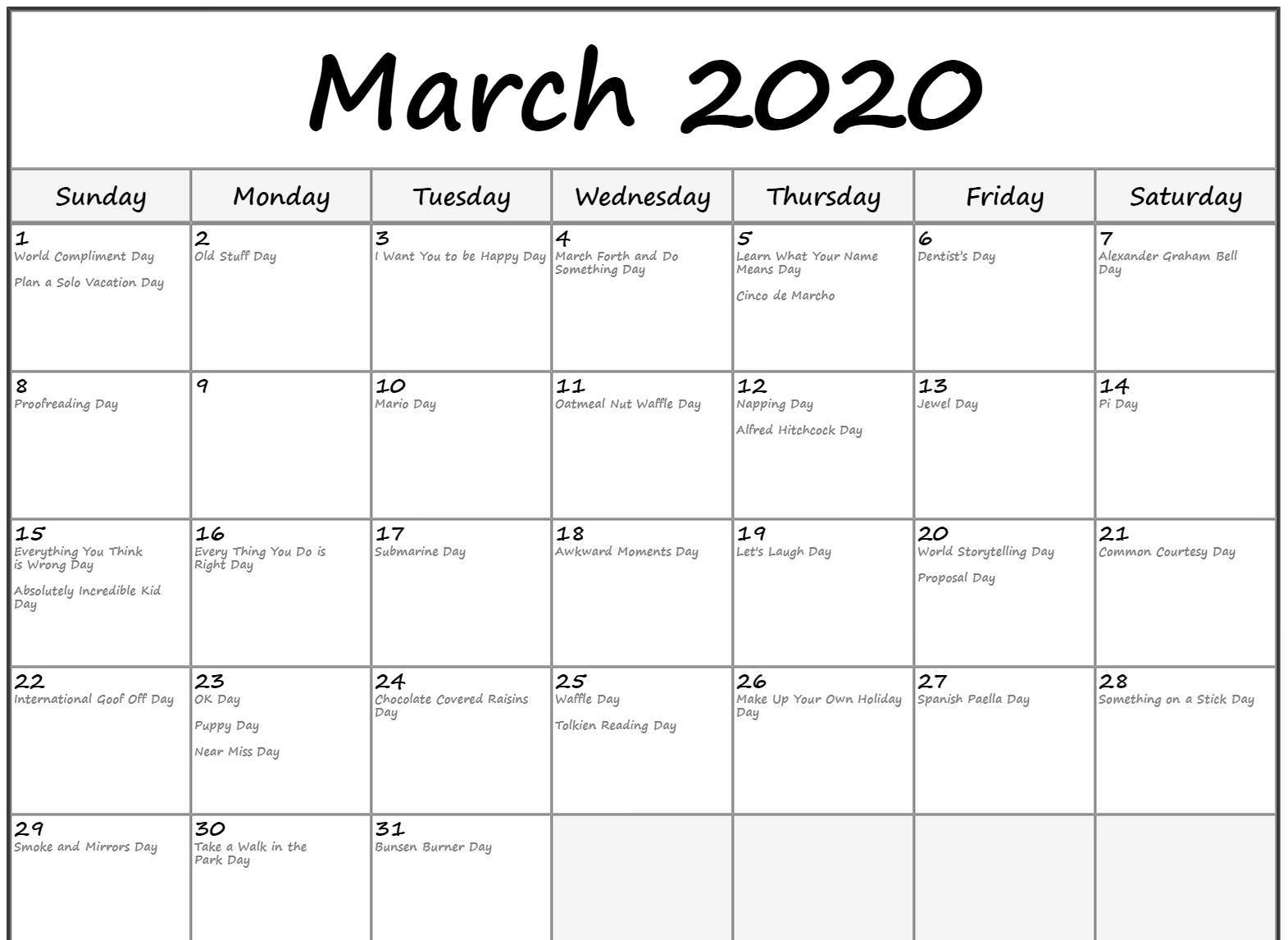Fillable March 2020 Calendar with Holidays