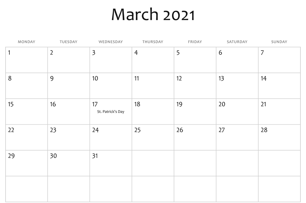 Fillable March 2021 Calendar Templates