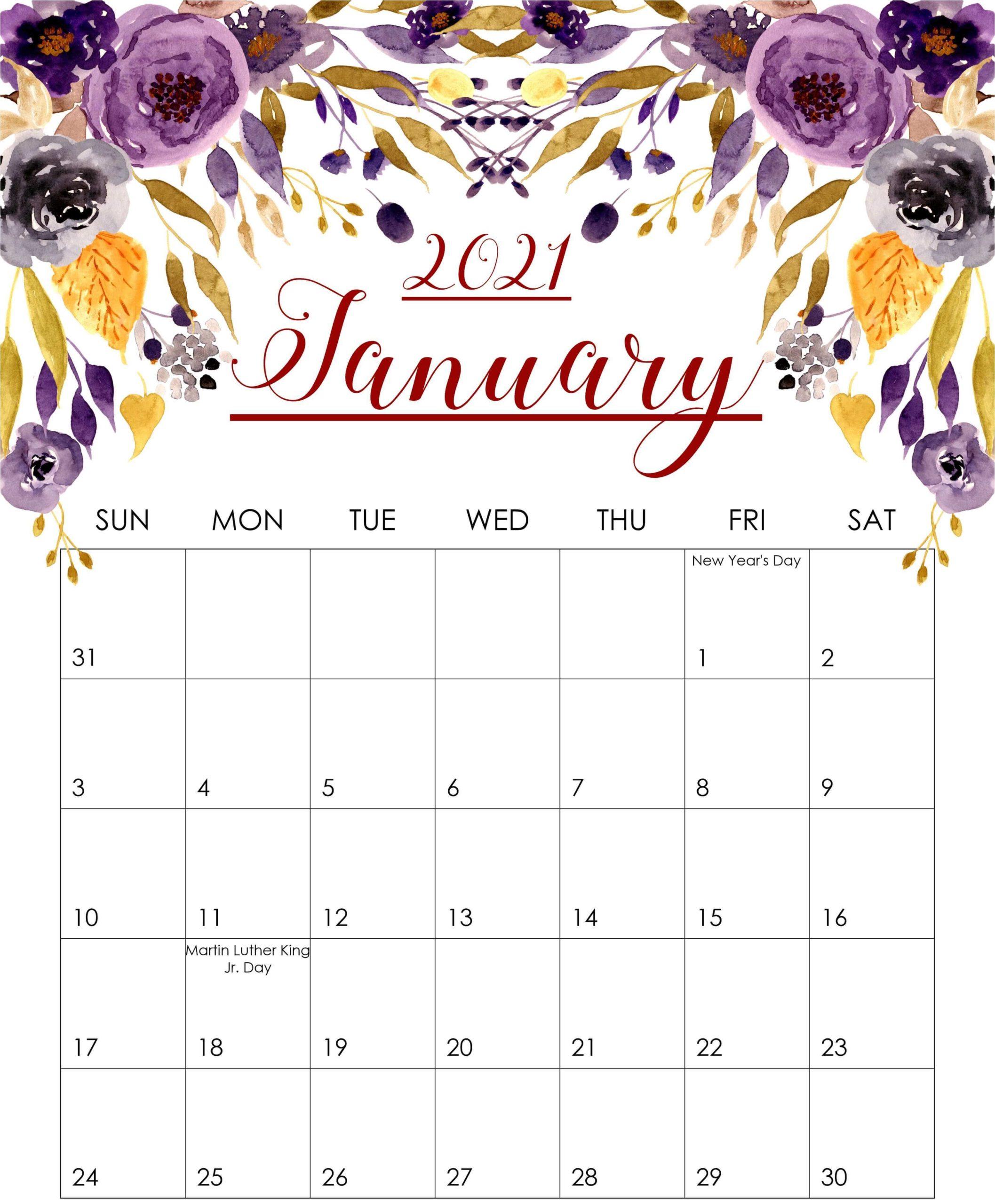 Floral January 2021 Calendar
