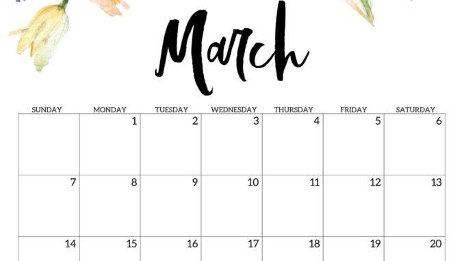 Free 2021 March Calendar Printable Editable Template Blank