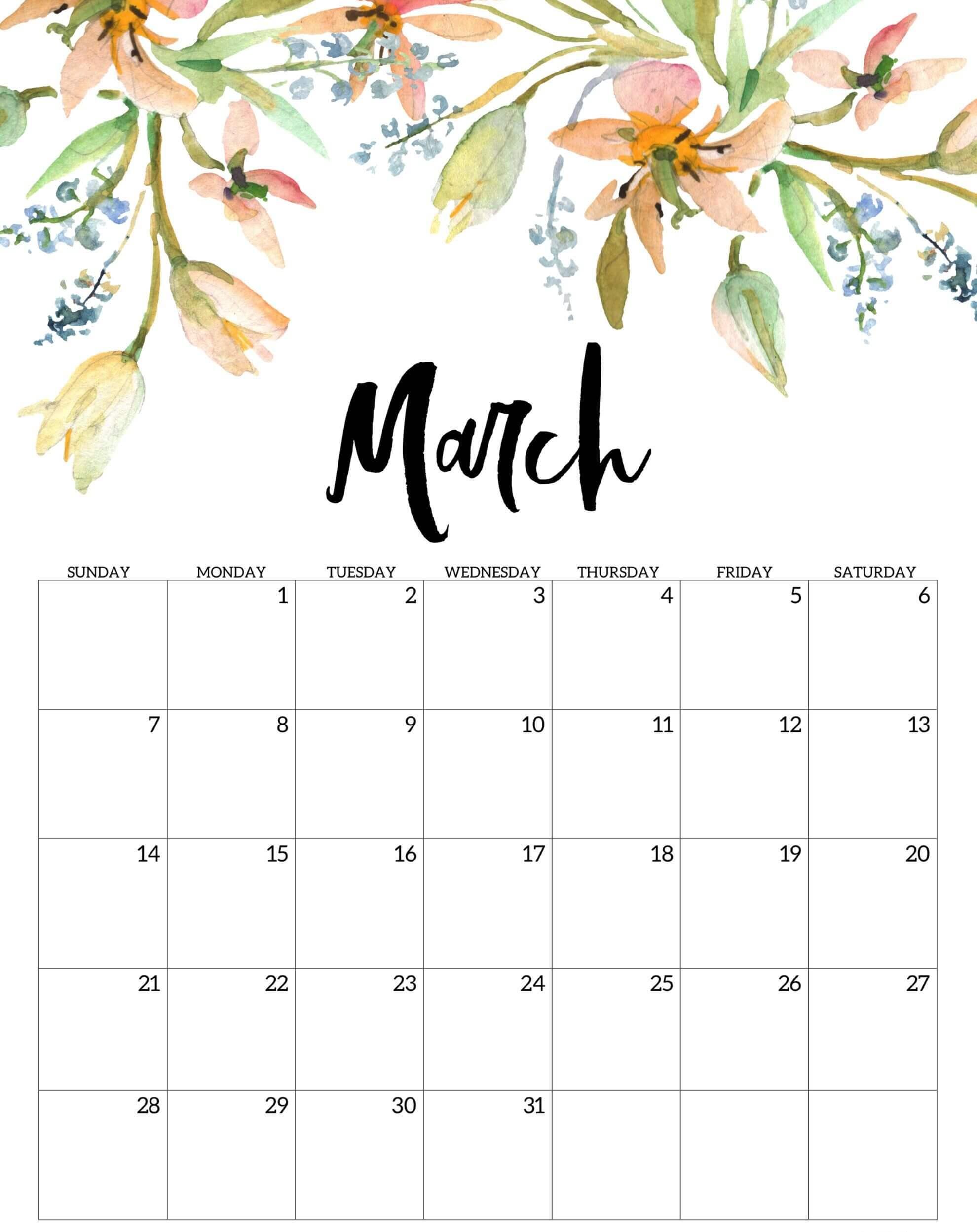 Floral March 2021 Wall Calendar
