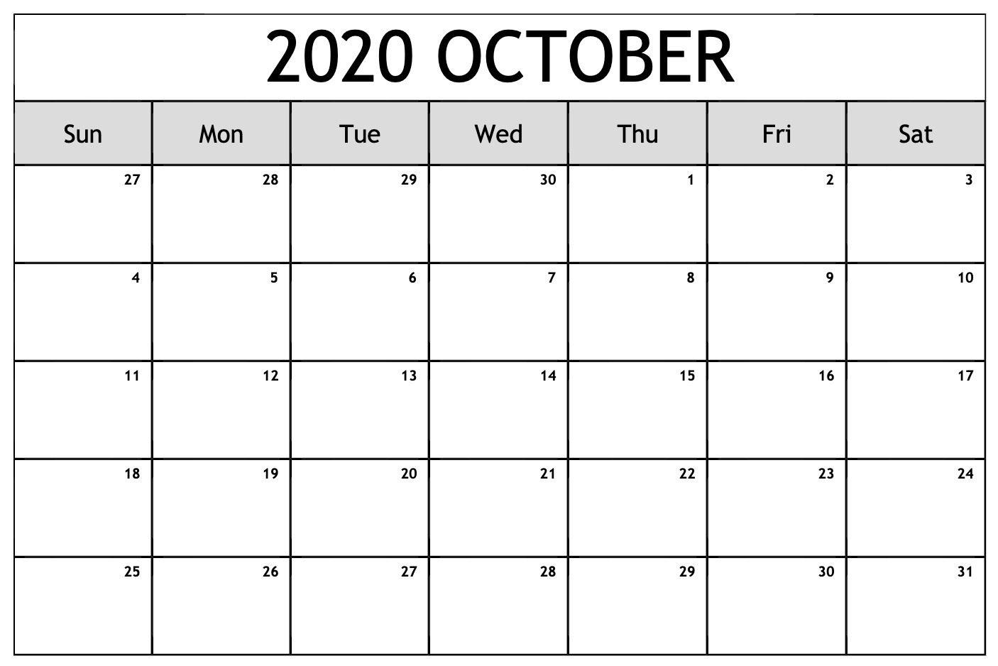 Free Blank Calendar for October 2020