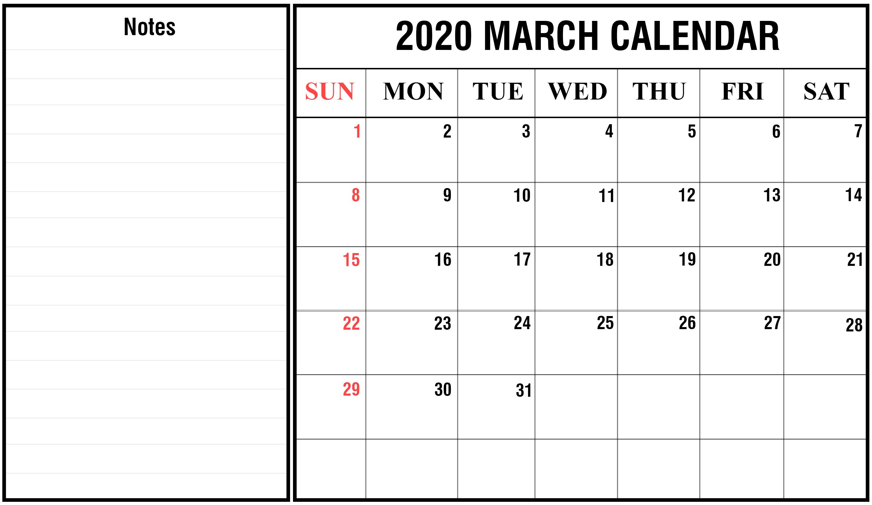Free Blank March 2020 Printable Calendar