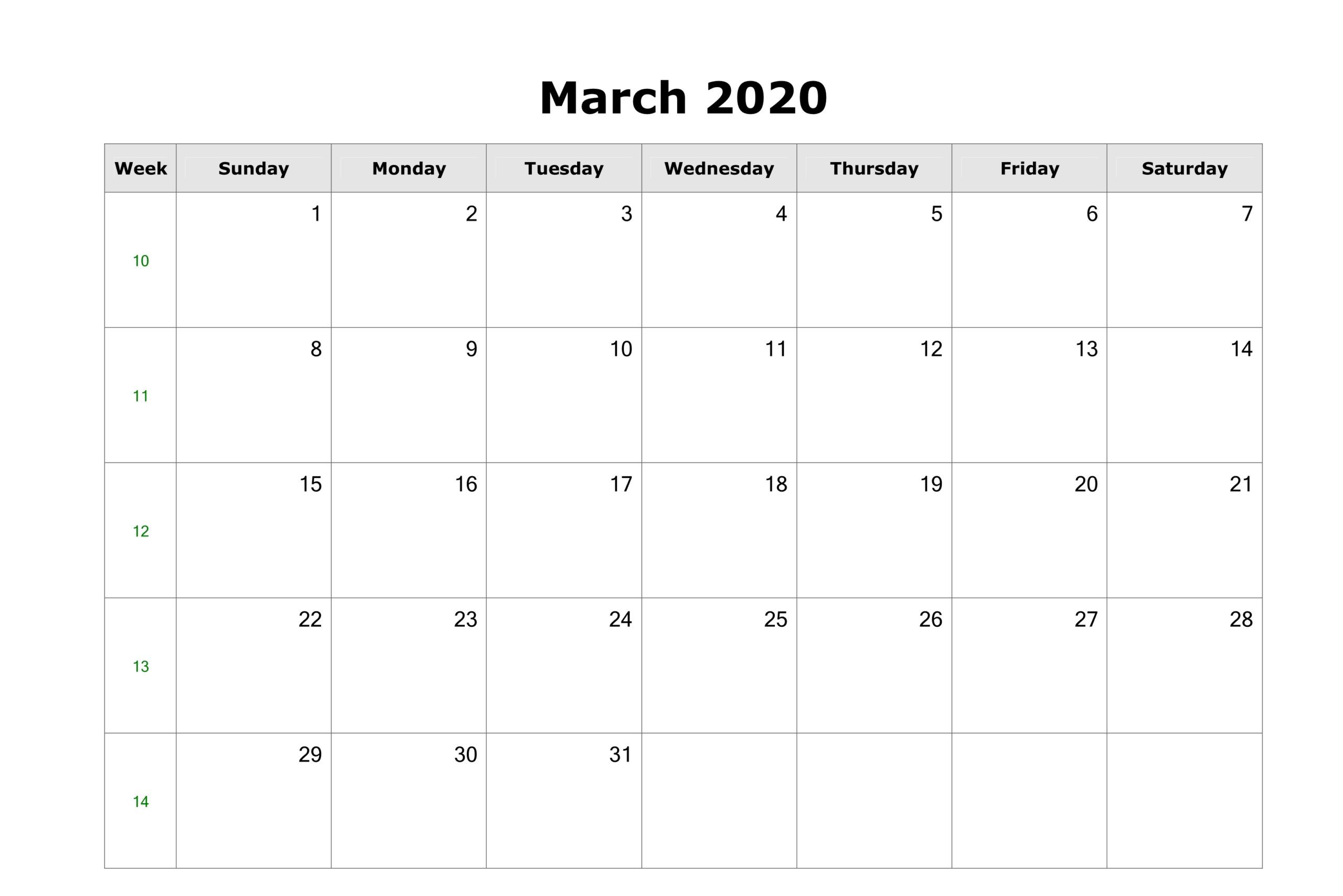 Free Fillable March 2020 Monthly Calendar