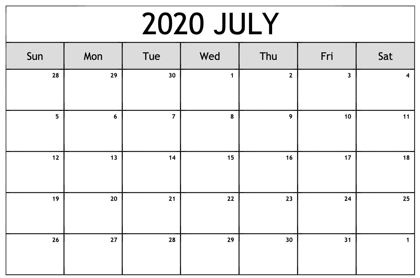 Free Monthly July 2020 Calendar Template