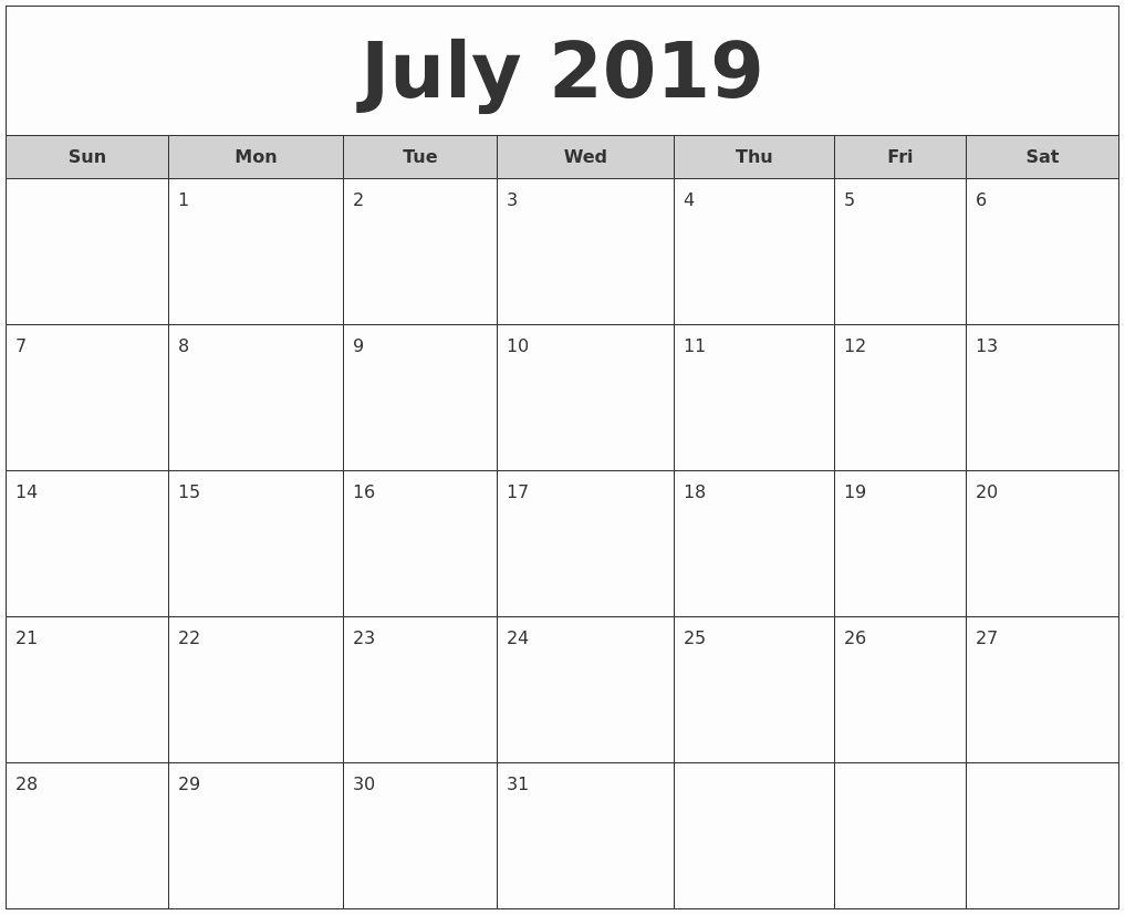 monthly calendar july 2019