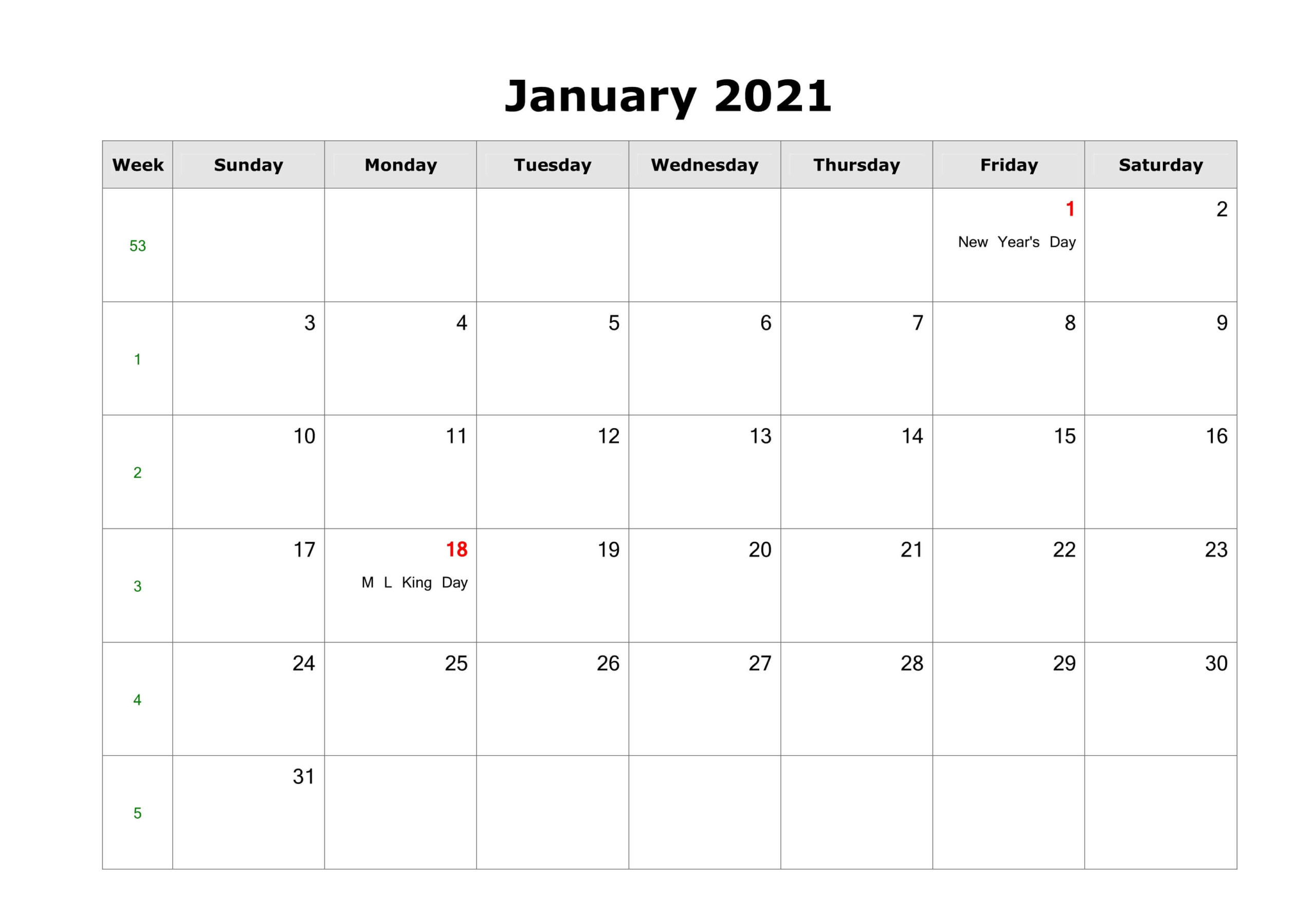 Holidays Calendar January 2021