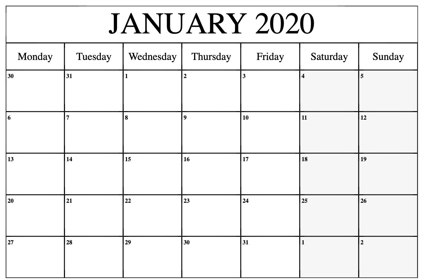 Free January Calendar 2020 Printable Template Blank in PDF Word Excel 1