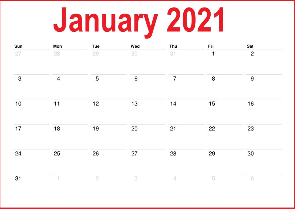 January 2021 Calendar PDF
