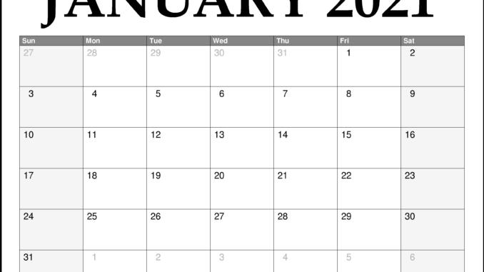 January 2021 Calendar Template