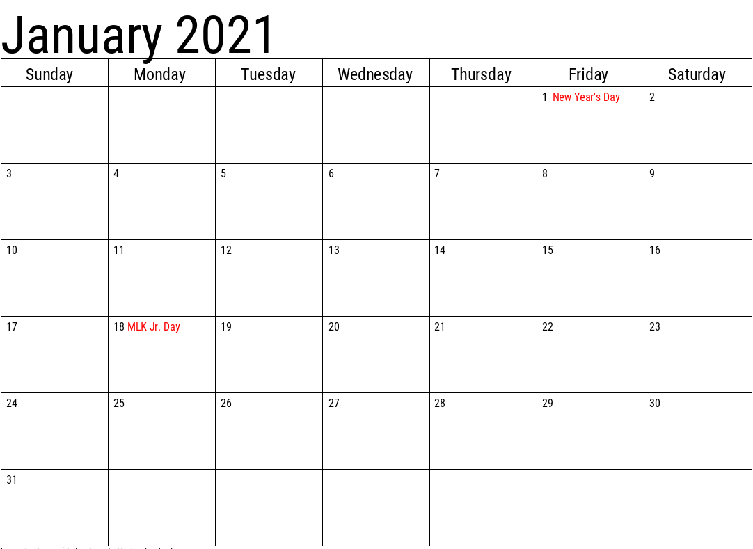 January Calendar 2021