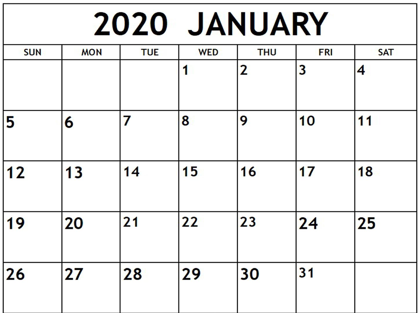 image regarding Calendar 2020 Printable called Totally free January Calendar 2020 Printable Template Blank Inside PDF